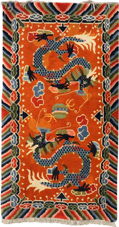 Tibetan dragons Carpet from the 20th century