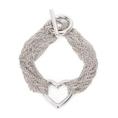 Tiffany Co Charming Mesh Heart Bracelet in Sterling Silver