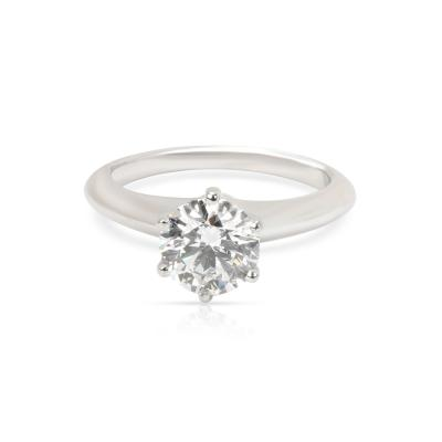 Tiffany Co Diamond Engagement Ring in Platinum E VVS2 1 08 CTW