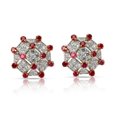 Tiffany Co Diamond Ruby Trellis Earrings in Yellow Gold Platinum 3 19 CTW