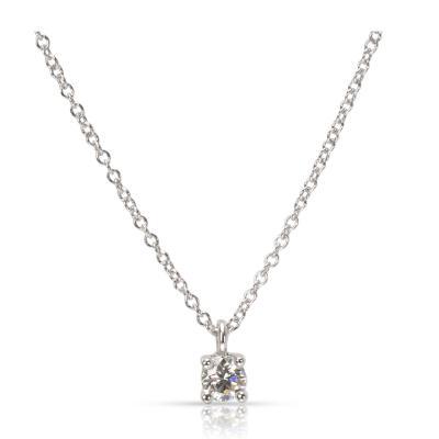 Tiffany Co Diamond Solitaire Pendant in Platinum 0 18 CTW