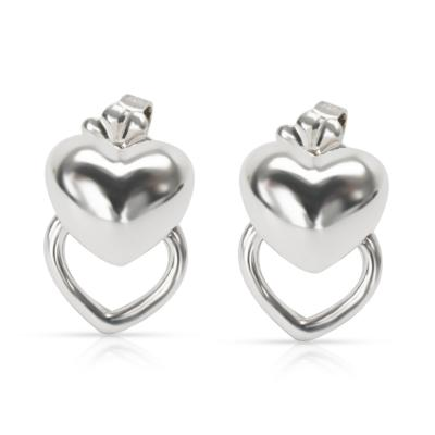 Tiffany Co Double Heart Puff Fashion Earring in Sterling Silver