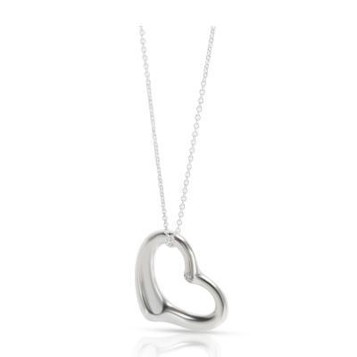Tiffany Co Elsa Peretti Open Heart Diamond Pendant in Sterling Silver 0 03CTW