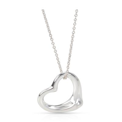Tiffany Co Elsa Peretti Open Heart Pendant in Sterling Silver