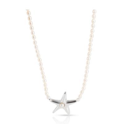 Tiffany Co Elsa Peretti Starfish Pearl Necklace in Sterling Silver