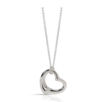 Tiffany Co Elsa Peretti Wide Open Heart Pendant in Sterling Silver 22 mm
