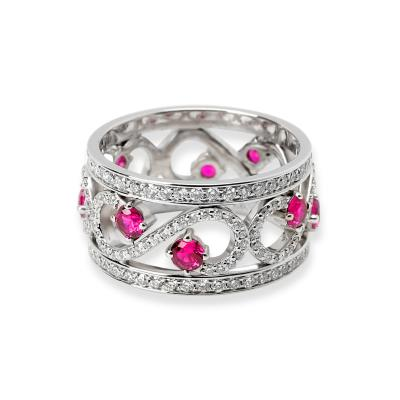 Tiffany Co Enchant Diamond Ruby Ring in 18K White Gold