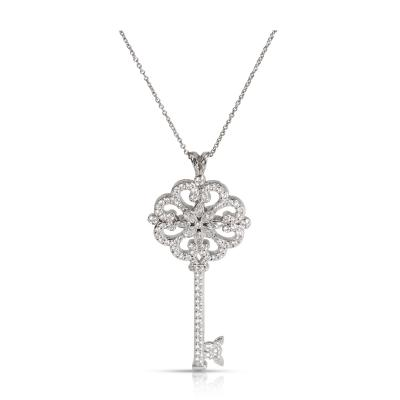Tiffany Co Enchant Primrose Diamond Key Pendant in Platinum 0 98 CTW