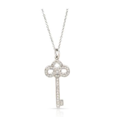 Tiffany Co Fleur De Lis Diamond Key Pendant Necklace in Platinum 0 12 ctw
