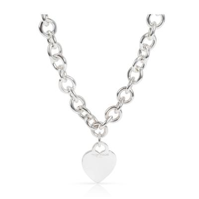 Tiffany Co Heart Tag Charm Necklace in Sterling Silver
