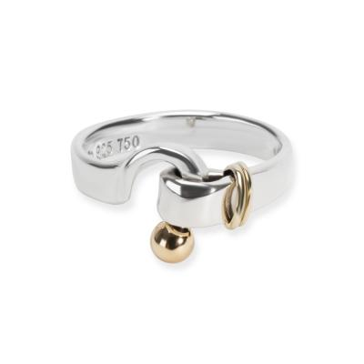 Tiffany Co Hook Ring in 18K Yellow Gold Sterling Silver