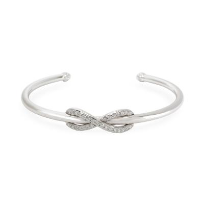 Tiffany Co Infinity Diamond Cuff in 18K White Gold 0 39 CTW