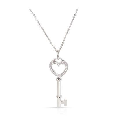 Tiffany Co Medium Key Diamond Necklace in 18K White Gold 0 12 CTW