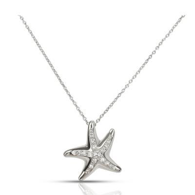 Tiffany Co Mini Mini Starfish Diamond Pendant in Platinum 0 13 CTW