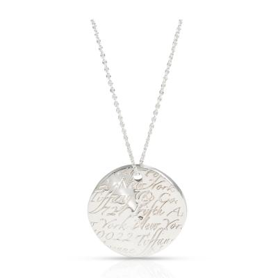 Tiffany Co Notes Round Disc Pendant in Sterling Silver