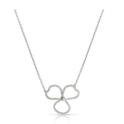 Tiffany Co Paper Flowers Diamond Open Flower Pendant in Platinum 0 15 CTW
