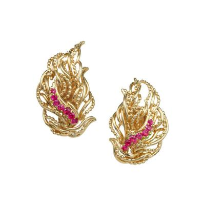 Tiffany Co Ruby Flame Gold Clip Post Earrings
