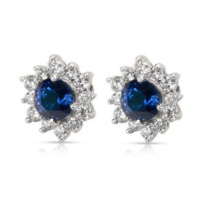 Tiffany Co Sapphire Diamond Earrings in Platinum 1 06 CTW