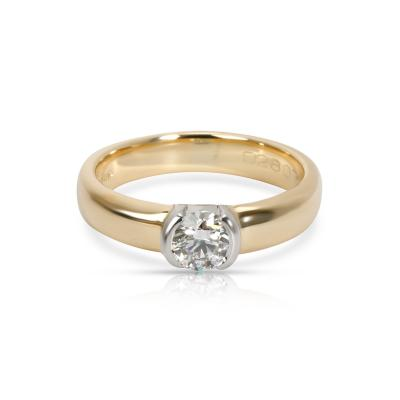Tiffany Co Semi Bezel Diamond Engagement Ring in 18K 2 Tone Gold 0 35 CTW