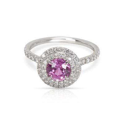 Tiffany Co Soleste Pink Sapphire Diamond Ring in Platinum