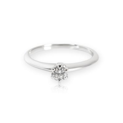 Tiffany Co Solitaire Diamond Engagement Ring in Platinum 0 21 ct F VS1