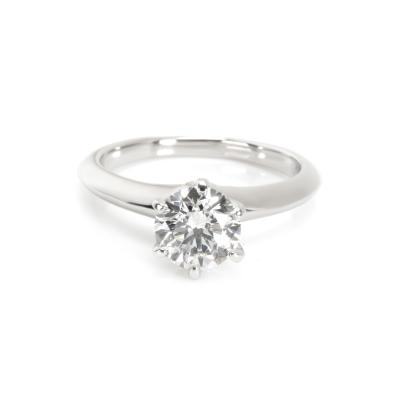 Tiffany Co Solitaire Diamond Engagement Ring in Platinum 1 10 ct I VS2
