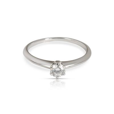 Tiffany Co Solitaire Diamond Engagement Ring in Platinum F VS2 0 34 CTW