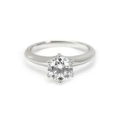 Tiffany Co Solitaire Diamond Engagement Ring in Platinum H VS1 1 02 CTW