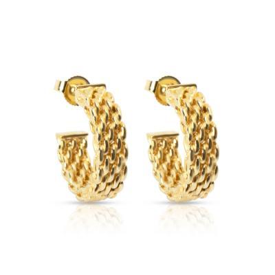 Tiffany Co Somerset Hoop Earrings in 18K Yellow Gold
