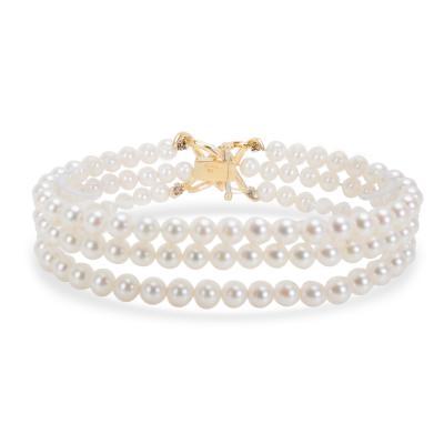 Tiffany Co Triple Strand Pearl Bracelet with Diamond Clasp