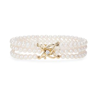 Tiffany Co Triple Strand Pearl Bracelet with Diamond Clasp