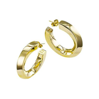 Tiffany Square Tubular Gold Hoop Earrings