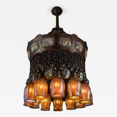 Tiffany Studios 12 Light Chandelier c 1910