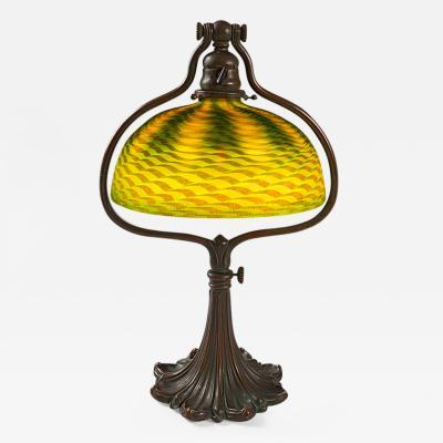 Tiffany Studios Adjustable Glass and Bronze Harp Tiffany Lamp
