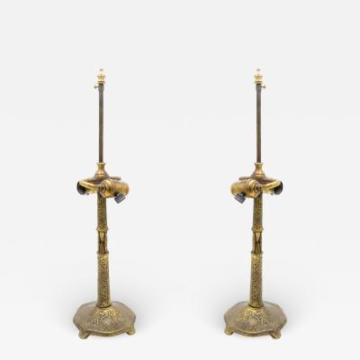 Tiffany Studios American Victorian Bronze Dore Tiffany Table Lamps