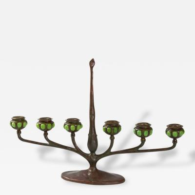 Tiffany Studios Art Nouveau Bronze and Favrile Glass Table Candelabrum