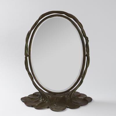 Tiffany Studios Bronze Lily Pad Mirror by Tiffany Studios