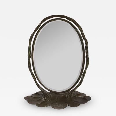 Tiffany Studios Bronze Lily Pad Mirror by Tiffany Studios