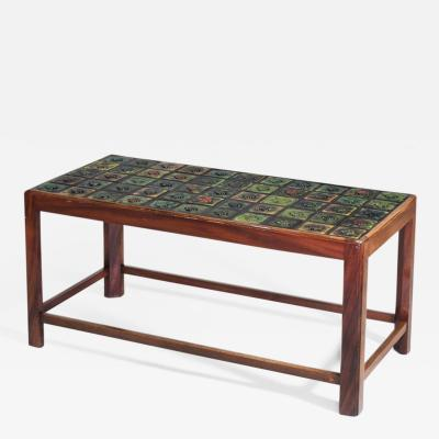Tiffany Studios Coffee Table with Tiffany Glass Tile Inlay