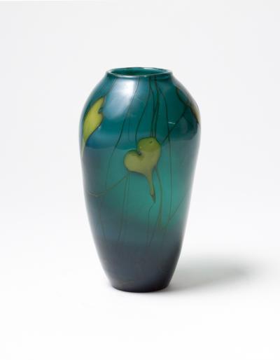 Tiffany Studios Early Vase with Leaf Decoration