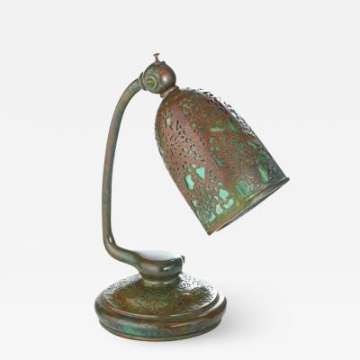 Tiffany Studios Etched Metal and Glass Reading Lamp
