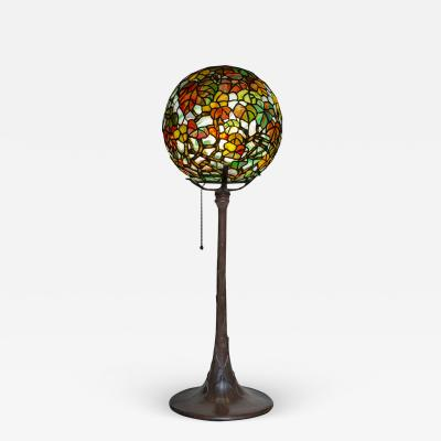 Tiffany Studios Extremely Rare Autumn Leaves Globe Lamp