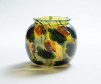 Tiffany Studios Favrile Glass Paperweight Vase with Nasturtiums