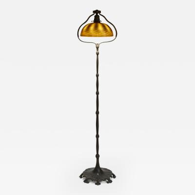 Tiffany Studios Favrile Glass and Bronze Harp Floor Lamp