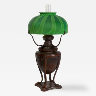 Tiffany Studios Favrile Glass and Patinated Bronze Tiffany Oil Lamp