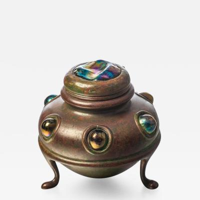Tiffany Studios Footed Inkstand with Turtleback Lid and Jewels
