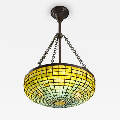 Tiffany Studios Geometric Glass and Bronze Tiffany Chandelier