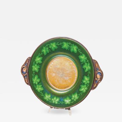 Tiffany Studios Intaglio Favrile Glass and Enameled Platter