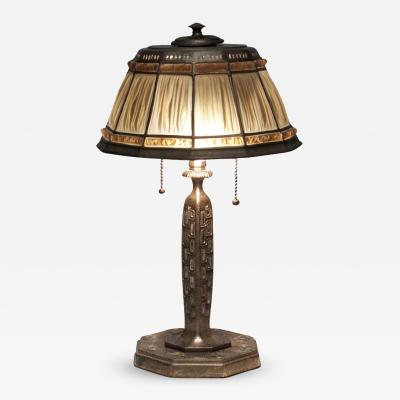 Tiffany Studios Linenfold Desk Lamp with Abalone Detail