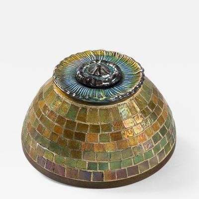 Tiffany Studios Mosaic Favrile Glass and Bronze Inkwell by Tiffany Studios New York
